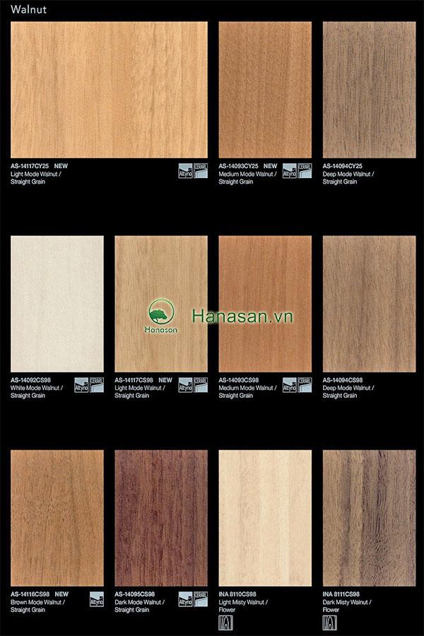 Bảng màu sàn gỗ màu óc chó