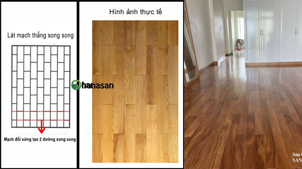lát sàn gỗ mạch thẳng song song