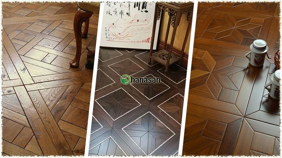 sàn gỗ kiểu ô vuông hanasan